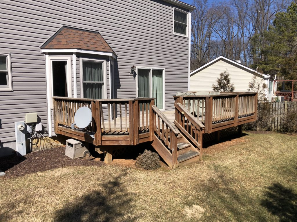 outdated wood deck in Columbia, Maryland