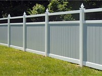<b>PVC Privacy Fence - 6 Foot 2 Tone White and Gray Vinyl Privacy Fence with Black Aluminum Closed Spindles and Teardrop Post Caps</b>