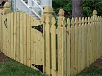 <b>Arched Vertical Board Gate and Fence with French Gothic Pickets and Posts</b>