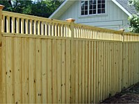 <b>Board & Batten Wood Privacy Fence with a Closed Spindle Top</b>