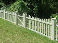 <b>PVC Picket Fence - Contemporary Scalloped Dog Ear Picket Tan Vinyl Fence</b>