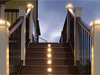 <b>Light it up! With the right light, an outdoor space goes from invisible to inviting. Illuminate the night with lighting that seamlessly integrates into rails, risers, treads and posts.</b>