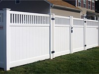 <b>PVC Privacy Fence - 6 Foot White Tongue and Groove Vinyl Privacy Fence with Closed Spindle Topper, a Double Gate and New England Post Caps</b>