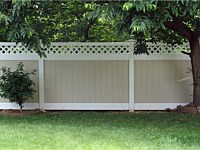 <b>PVC Privacy Fence - 6 Foot 2 Tone White and Tan Vinyl Privacy Fence with White Lattice Topper</b>