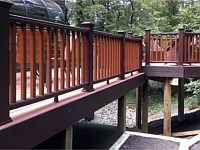 <b>Trex Composite Vintage Lantern Posts and Railing with Fire Pit square balusters</b>