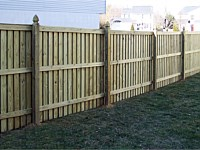 <b>Board and Batten Wood Privacy Fence with French Gothic Posts</b>
