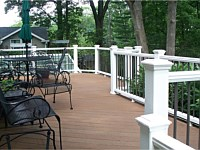 <b>White Composite Railing with Bronze Aluminum Balusters</b>