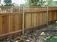 <b>Vertical Board Wood Privacy Fence with Square Lattice Top</b>