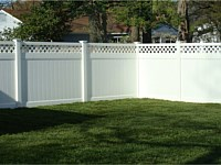 <b>PVC Privacy Fence - 6 Foot White Tongue and Groove Vinyl Privacy Fence with Lattice Top and New England Post Caps</b>
