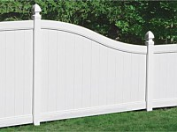 <b>PVC Privacy Fence - White Vinyl Tongue and Groove Privacy Fence Transition with Gothic Post Caps</b>