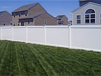 <b>PVC Privacy Fence - 6 Foot White Vinyl Tongue and Groove Privacy Fence with New England Post Caps </b>