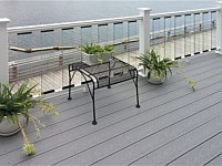 <b>Trex Select Pebble Gray Composite Deck Board with White Composite Railing with Glass Pickets</b>