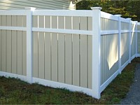 <b>PVC Privacy Fence - White and Tan Semi-Private Vinyl Fence</b>