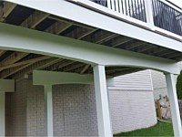 <b>Here is another example of a deck highlighting fascia wrap around the deck, vinyl wrap around the support beams and support posts. The support beams are also finished off with a decorative arch.</b>