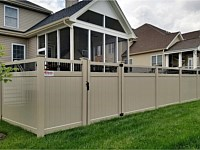 <b>PVC Privacy Fence - 6 Foot Tan Vinyl Privacy Fence with Black Aluminum Closed Spindles and New England Style Post Caps</b>