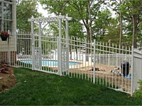 <b>Alumi-Guard Residential Victoria Royale Aluminum Fence with Quad Finial in White with Aluminum Arbor</b>