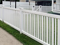<b>Alternating 3 inch and 1-5 inch Picket Closed Top White Vinyl Fence with New England Post Caps</b>