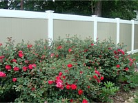 <b>PVC Privacy Fence - 6 Foot 2 Tone White and Tan Vinyl Privacy Fence with New England Post Caps</b>