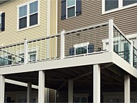<b>White aluminum railing with glass pickets</b>