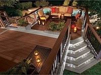 <b>Trex Transcend Decking and Railing in Fire Pit and Gravel Path</b>