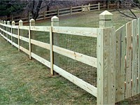 <b>3 Rail Ranch Rail Wood Fence with Mesh & Gate</b>