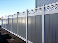 <b>PVC Privacy Fence - 6 Foot 2 Tone Privacy Fence in White and Dove Gray Vinyl With White Lattice on Top</b>