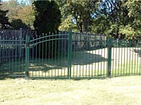 <b>Alumi-Guard 3-Rail Residential Belmont Arched Gate with Pressed Spears in Greent</b>