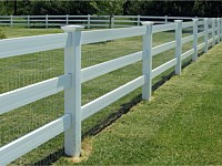<b>3 Rail Ranch Rail White Vinyl Privacy Fence with Wire Mesh and New England Post Caps</b>