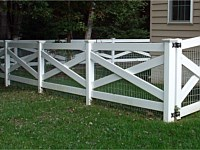 <b>Crossbuck White Vinyl Rail with Wire Mesh and New England Post Caps</b>
