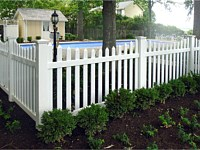<b>Scalloped Contemporary White Vinyl Picket Fence with Pointed 3 inch pickets and New England Post Caps</b>