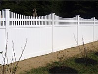 <b>PVC Privacy Fence - 4 Foot White Tongue and Groove Vinyl Privacy Fence with 2 Feet Scalloped Open Spindle Top and New England Post Caps</b>