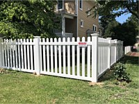 <b>4 foot high white pvc picket fence with Dog ear pickets and contemporary picket style</b>