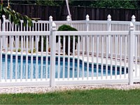 <b>Spaced Classic Picket White Vinyl Pool Code Fence with Gothic Post Caps</b>