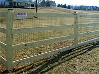 <b>5 foot pressure treated 4 board paddock fence with black vinyl coated mesh</b>