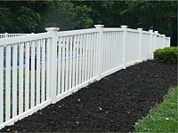 <b>Spaced Picket Pool Code White Vinyl Fence with New England Post Caps</b>