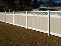 <b>PVC Privacy Fence - 6 Foot 2 Tone White and Tan Vinyl Privacy Fence with Tan Lattice and New England Post Caps</b>