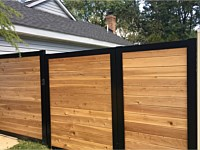 <b>6 foot high Melange  Aluminum Frame with Horizontal Cedar Board Privacy Fence + Gate</b>