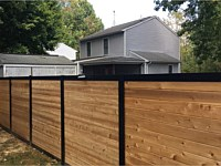 <b>6 foot high Melange  Aluminum Frame with Horizontal Cedar Board Privacy Fence</b>