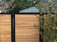 <b>6 foot high Melange Aluminum Frame with Horizontal Cedar Board Privacy Fence and Gate</b>