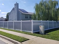 <b>6 foot high Two Tone White and Gray Vinyl Privacy Fence</b>
