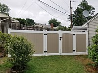 <b>6 foot high Two Tone White and Khaki Vinyl Privacy Fence with Arched Double Gate</b>