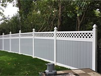 <b>6 foot hight Two Tone Vinyl Privacy Fence with What and Gray Vinyl and Lattice Top with Coachman style post caps-2</b>