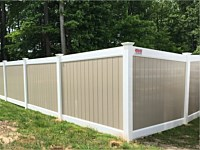 <b>6 foot tall Two Tone Vinyl Privacy Fence with White and Khaki Vinyl</b>