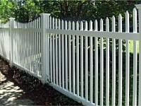 <b>Scalloped Classic Pointed Cap Picket White Vinyl Fence with New England Styled Post Caps</b>