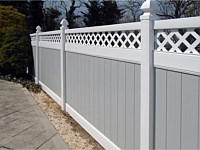 <b>PVC Privacy Fence - 6 Foot Dove Gray Vinyl Privacy Fence with a White Lattice Topper</b>