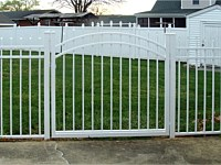 <b>Alumi-Guard 3-Rail Residential Belmont Pressed Spear White Aluminum Fence with Single Arched Gate</b>