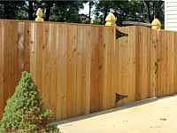 <b>Cedar Vertical Board Privacy Fence with Cap Board Top & French Gothic Posts</b>