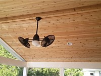 <b>Use tongue-and-groove cedar ceiling finish for a more casual and rustic look</b>