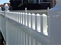<b>Classic Straight Top White Picket Vinyl Fence with Gothic Styled Post Caps</b>