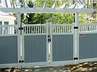<b>PVC Privacy Fence - 6 Foot Tongue and Groove 2 Tone White and Gray Vinyl Privacy Fence with White Closed Spindles and a Double Gate with Trellis</b>